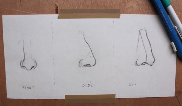 Learn to sketch a nose from three angles