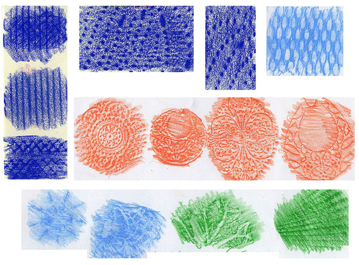 Rubbings in Colored Pencil