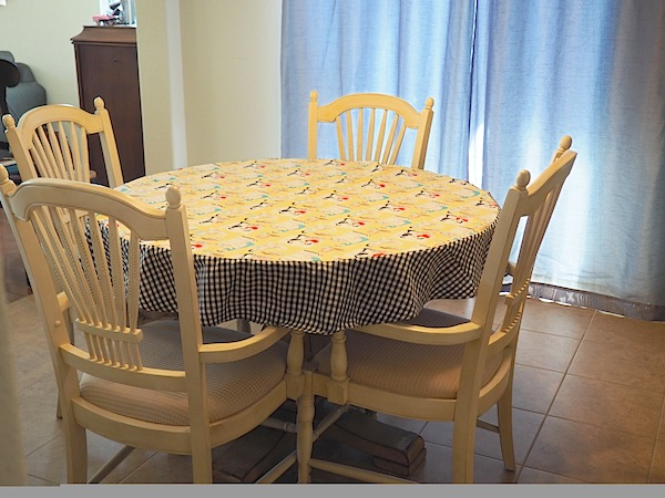 finished round tablecloth