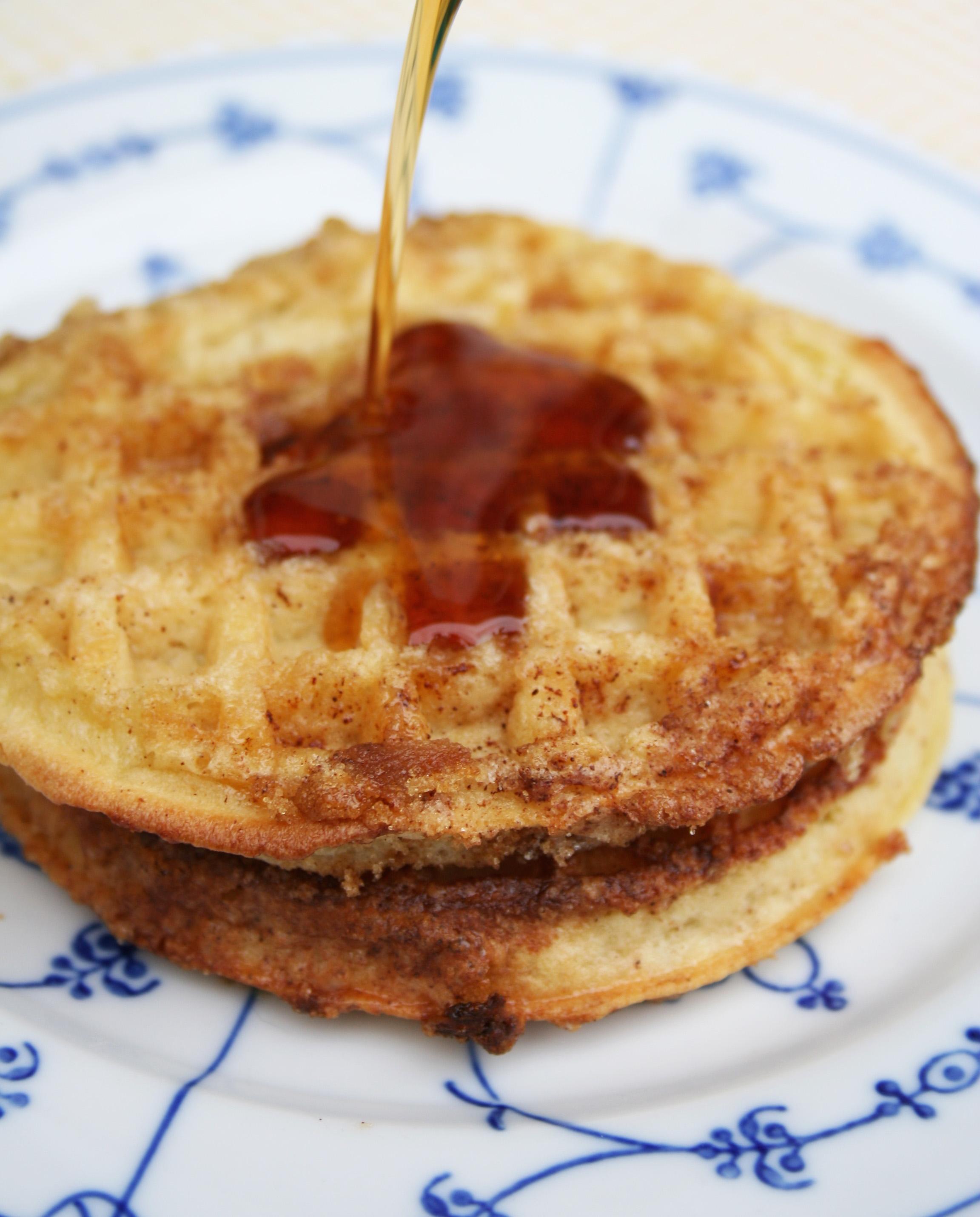 Syrup on waffle