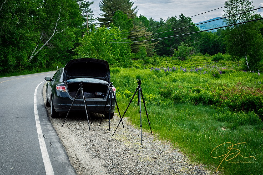 Taking Photos with Tripods Near a Car