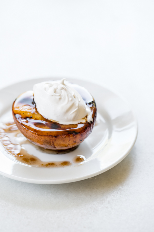 Simple Grilled Peaches with Coconut Whipped Cream