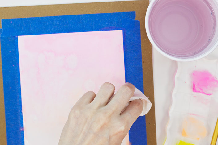 How to Watercolor with Pigment Ink, Step 4a