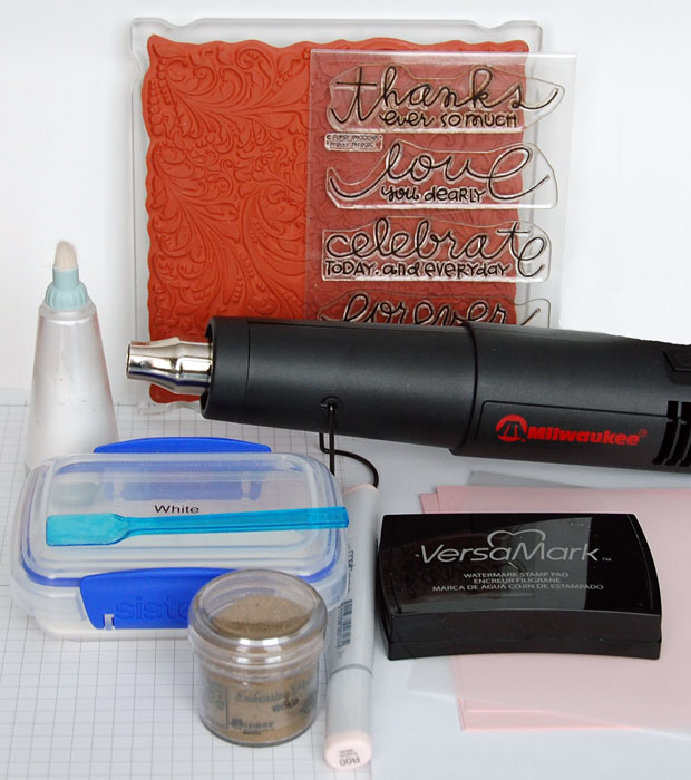 Supplies Needed to create a heat embossed card