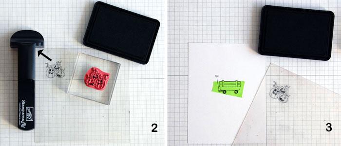 SAMJ Steps 2 and 3 Stamp pumpkins onto imaging sheet; mask wagon