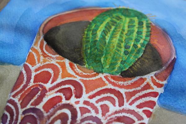 Wax resist on watercolor painting