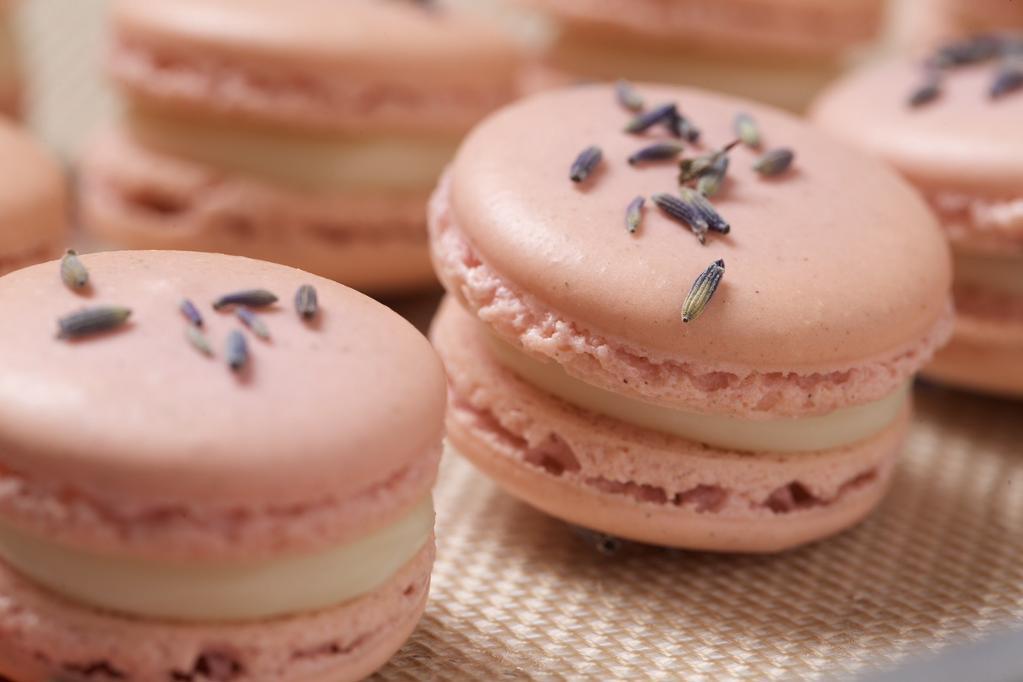 Pink lavender macarons