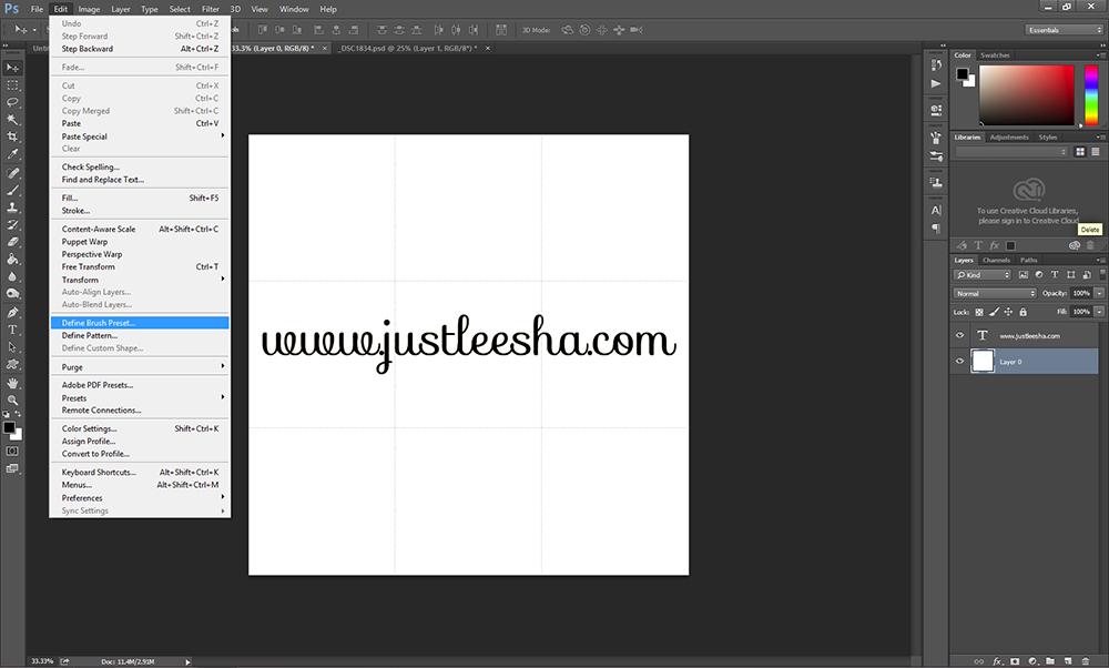 Define Brush Preset in Photoshop