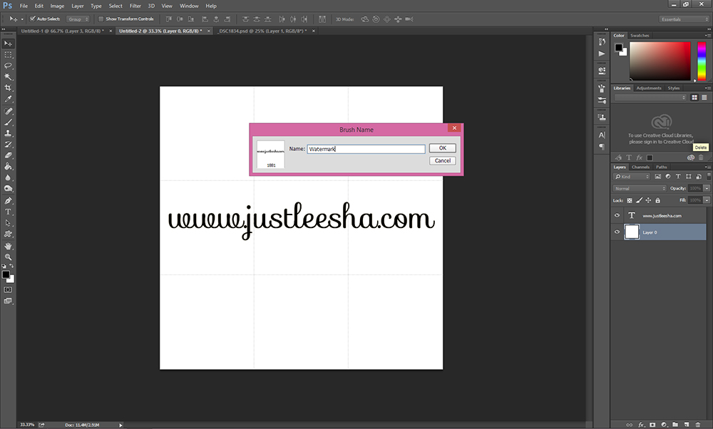 Name the Brush in Photoshop
