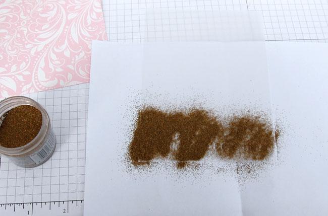 Stamp sentiment using VersaMark and sprinkle embossing powder