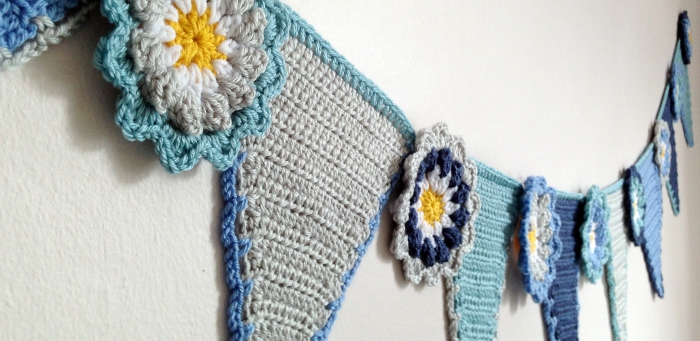Crochet pennant and flower bunting