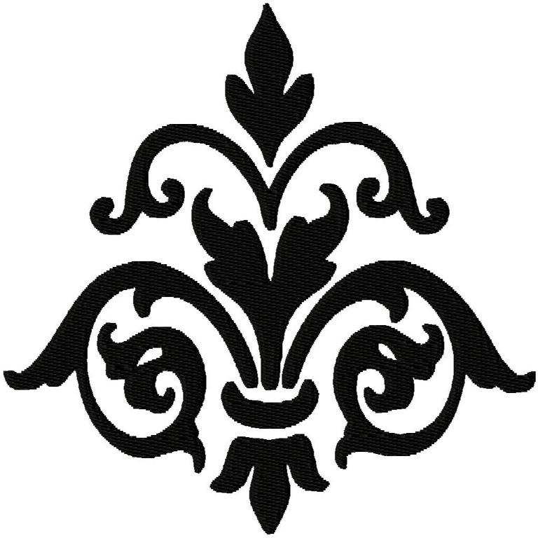 Damask solid fill embroidery design
