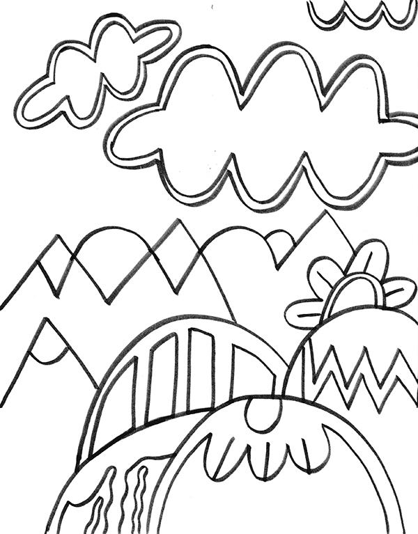 Downloadable mountain drawing pattern