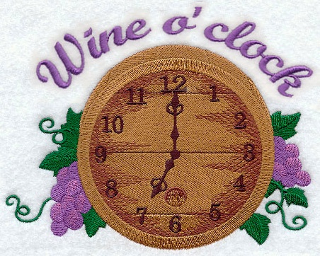 wine o clock embroidery