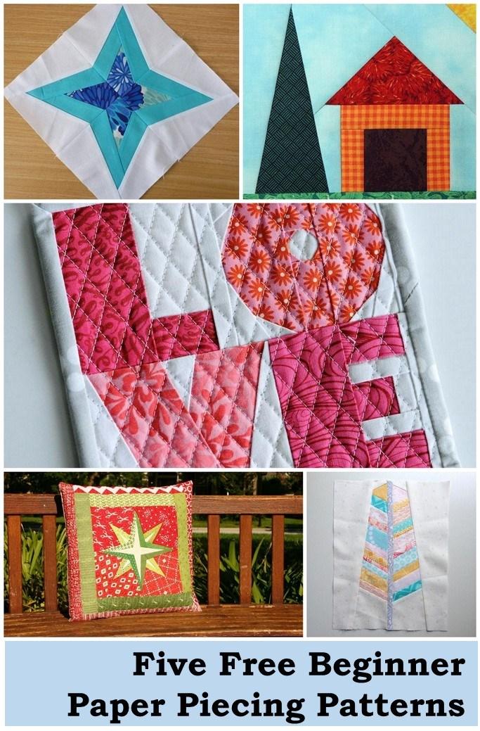 Five free beginner paper piecing patterns