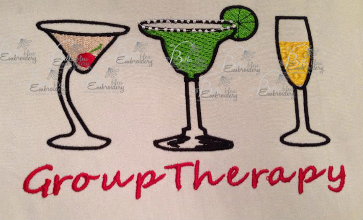 Group therapy embroidery designs.