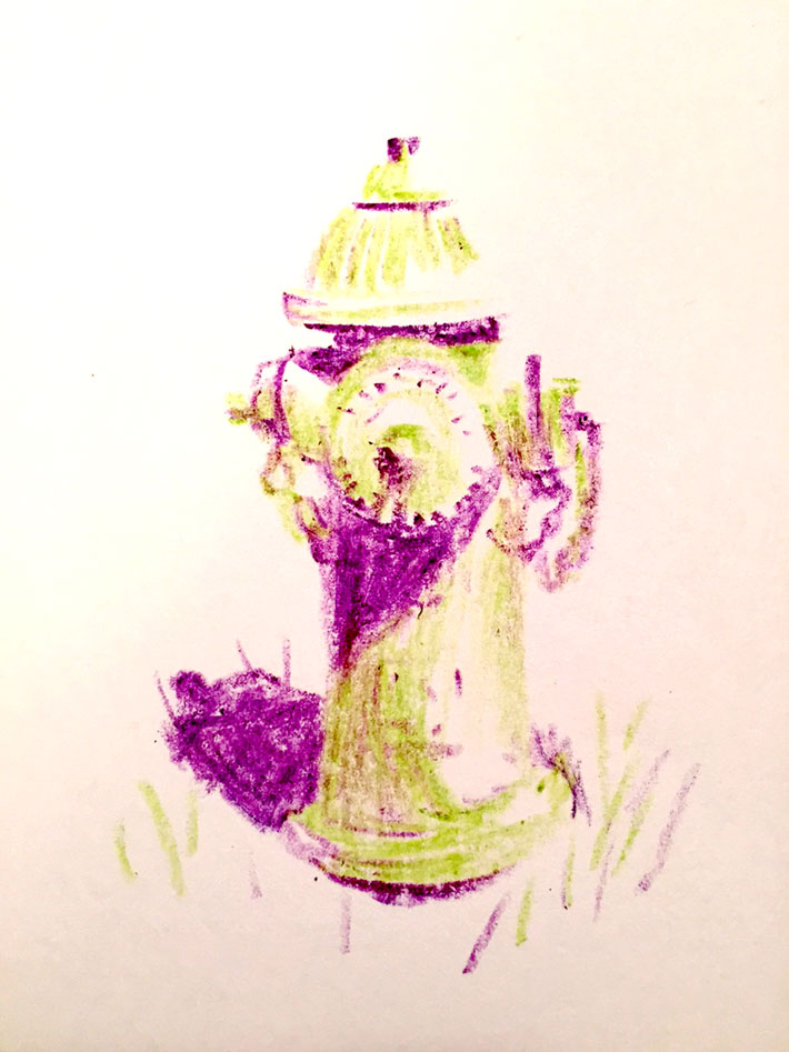 The completed drawing of a fire hydrant