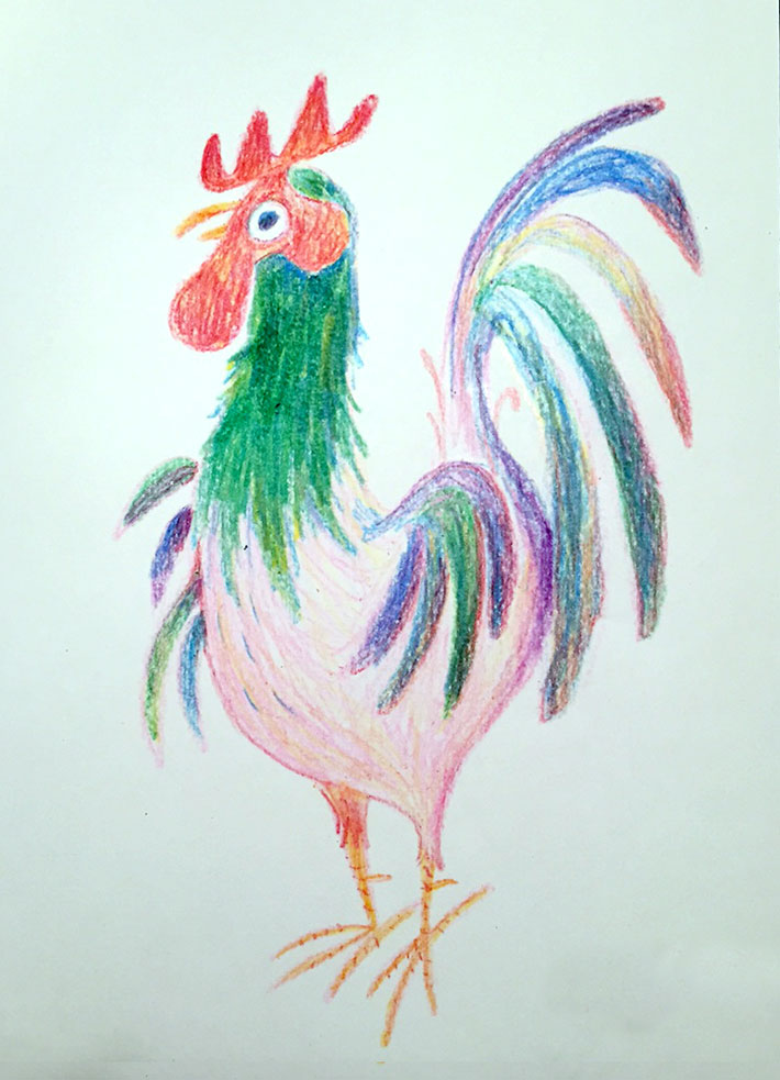 The finished rooster drawing, rendered entirely in crayons on printer paper
