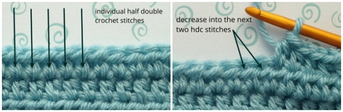 Half double crochet stitches before the crochet decrease