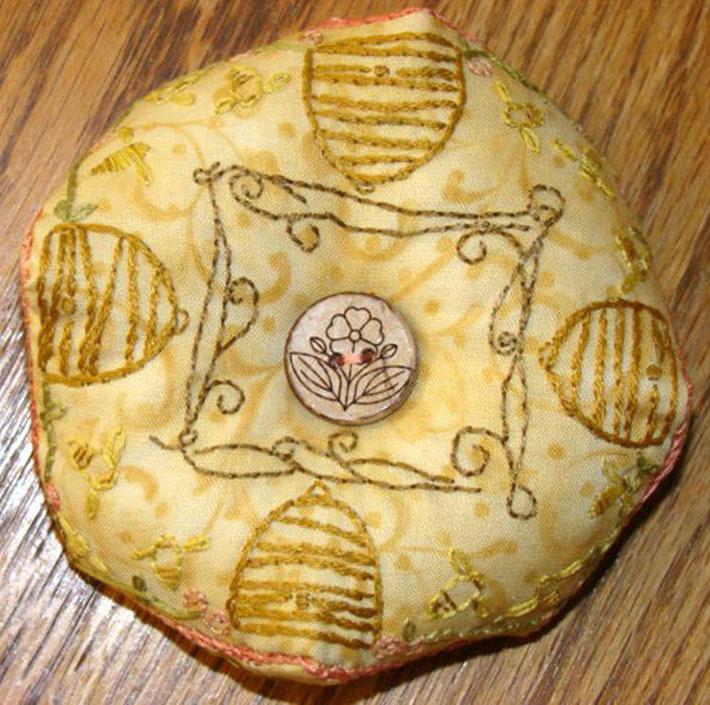 Honey Bee Biscornu Embroidery Tutorial