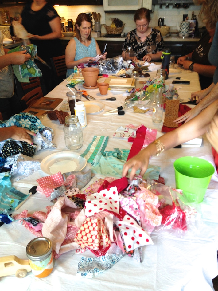Fabric scraps Mod Podge craft party idea