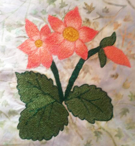 Moms flowers freehand machine embroidery