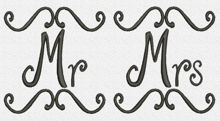 Mr Mrs Embroidery Design