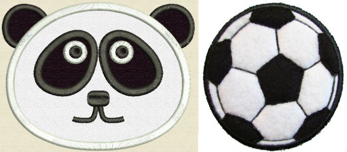 Applique panda and soccer ball.