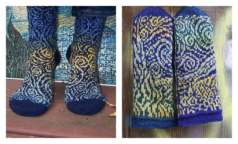 Starry Night Socks and Mittens