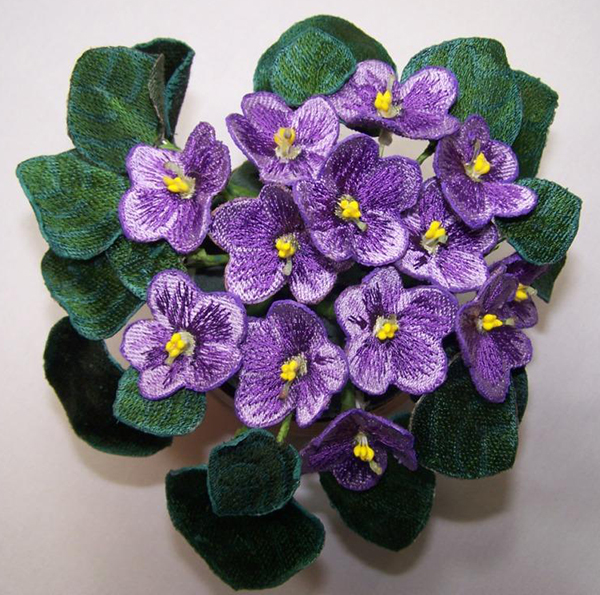 Purple African Violets: embroidered flowers made in the hoop
