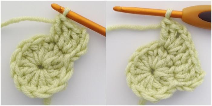 Round 2 step 2 solid crochet hexagon motif