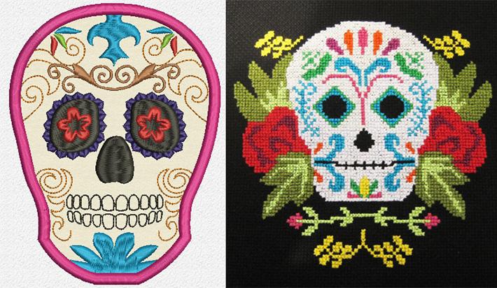Sugar Skull Applique Embroidery Design