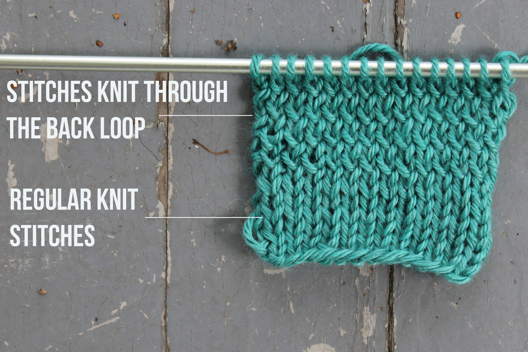 The difference between knit stitches and knitting through the back loop