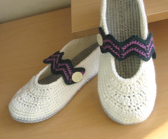 chevron crochet slippers
