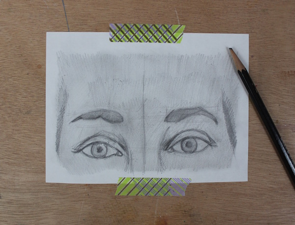 Colored-in eyebrows
