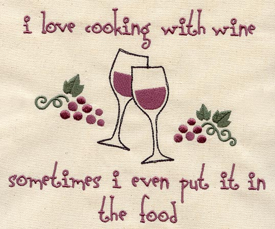 Cooking with wine embroidery