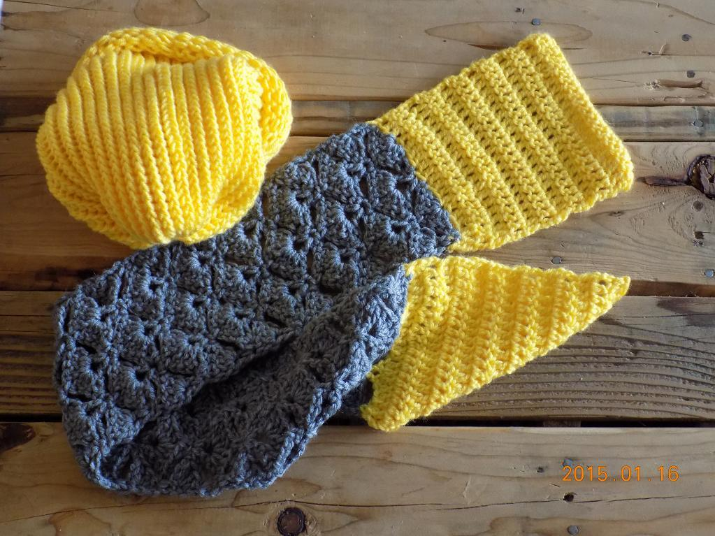Gray and Yellow Crochet Hat and Scarf