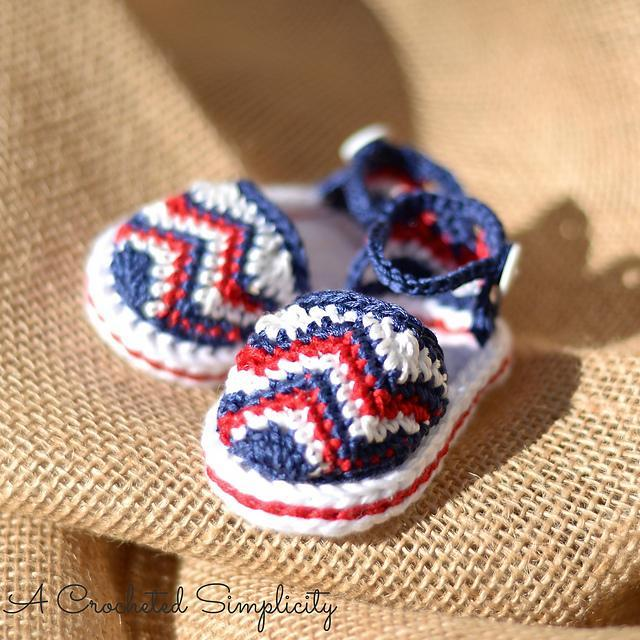chevron crocheted baby sandals