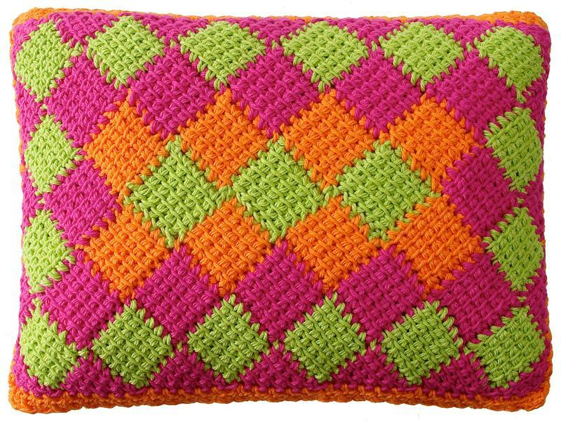 Entrelac crochet can be worked in two or more colors.
