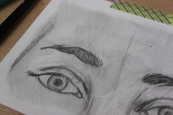 Drawing eyebrow hairs