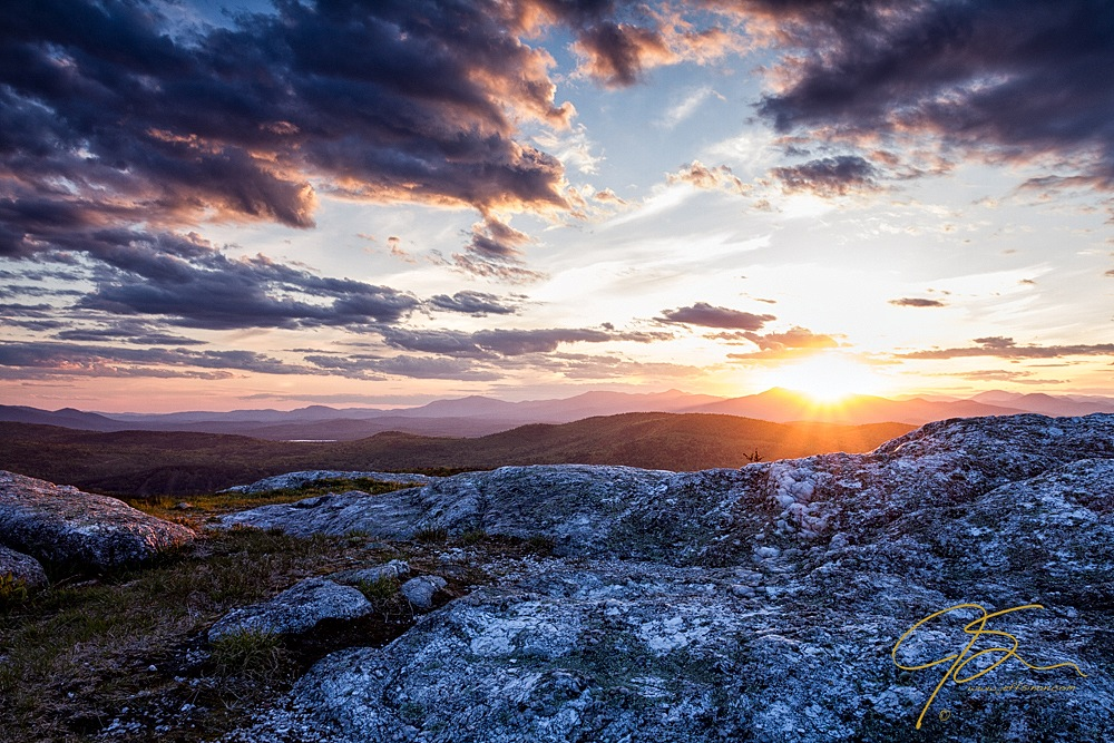 Dramatic sunset from Foss Mountain in New Hampshire