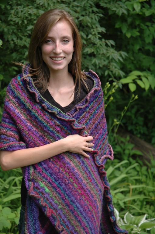 Slipped Stitch Ruffled Shawl Knitting Pattern