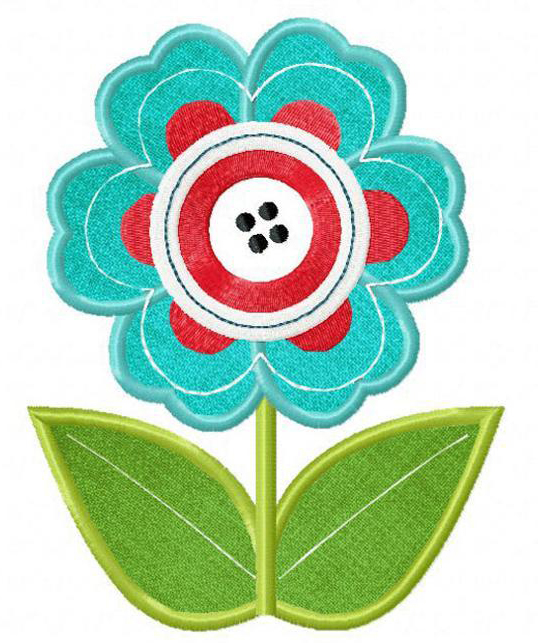 Button Flower Machine Embroidery Design