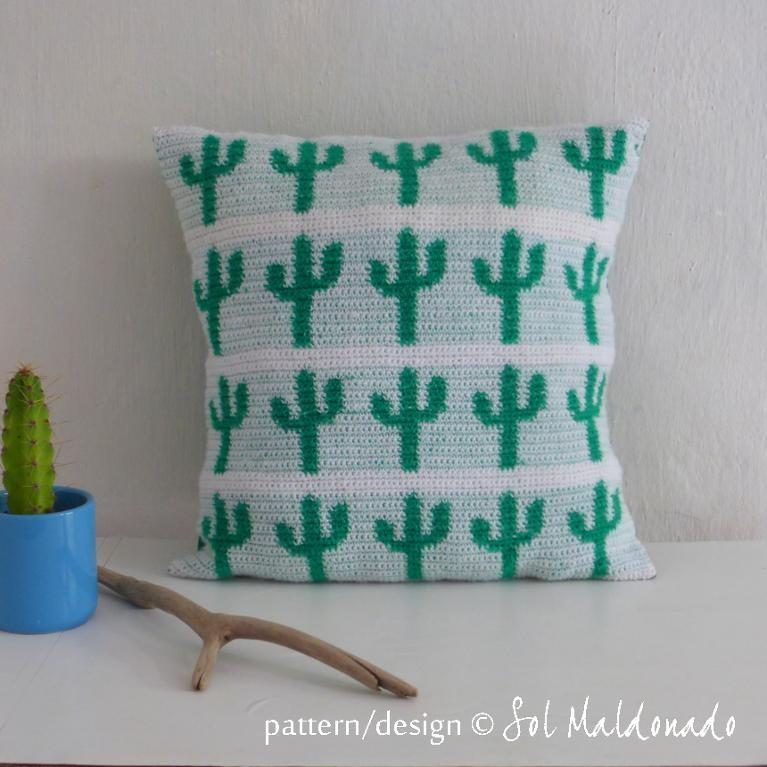 Tapestry Crochet Pillow Cactus