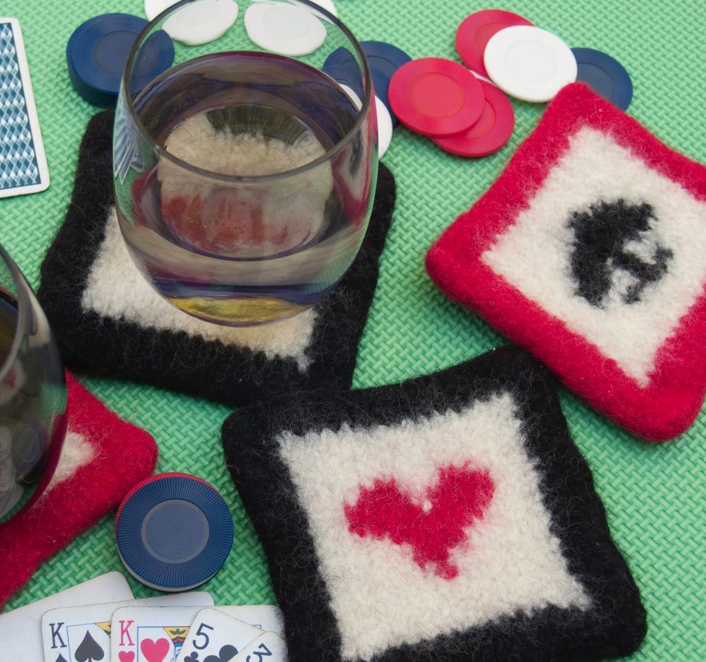 Felted Poker Coasters Knitting Pattern