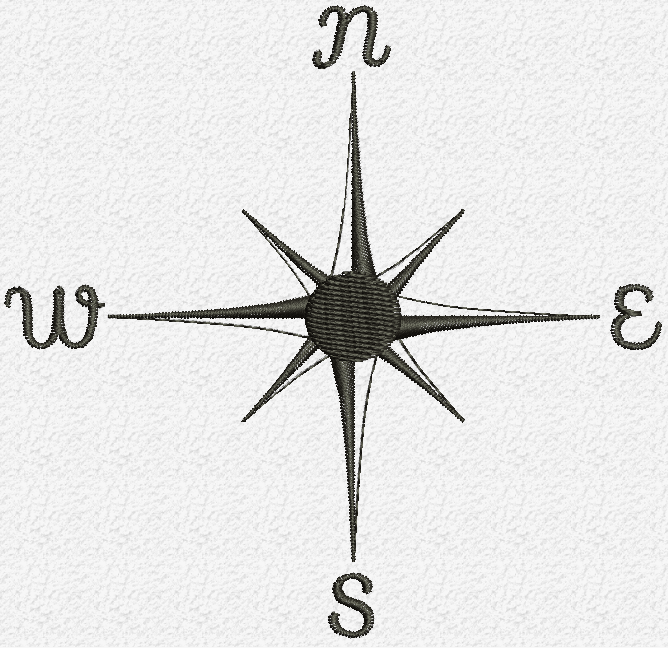Old compass embroidery design
