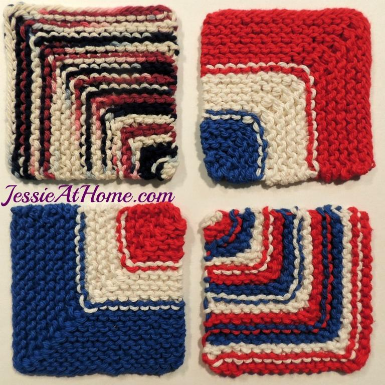 Evens and Odds Mitered Coasters FREE Knitting Pattern