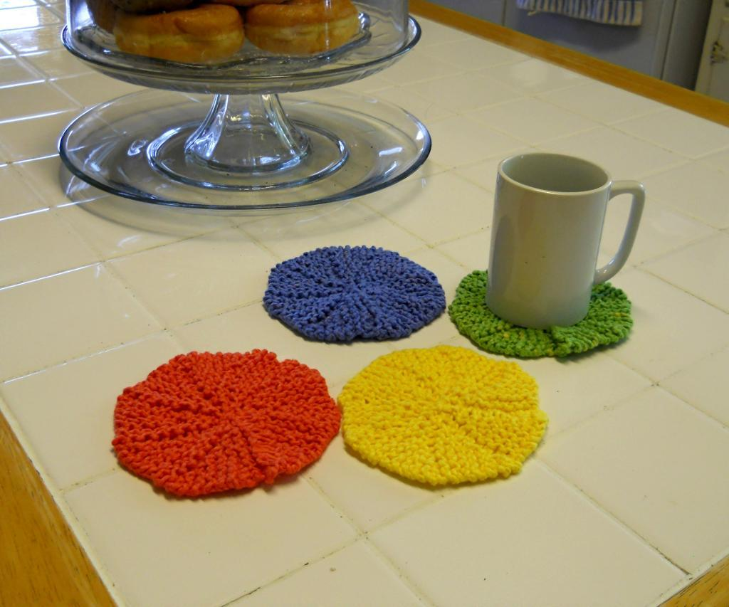 Citrus Colored Coasters FREE Knitting Pattern