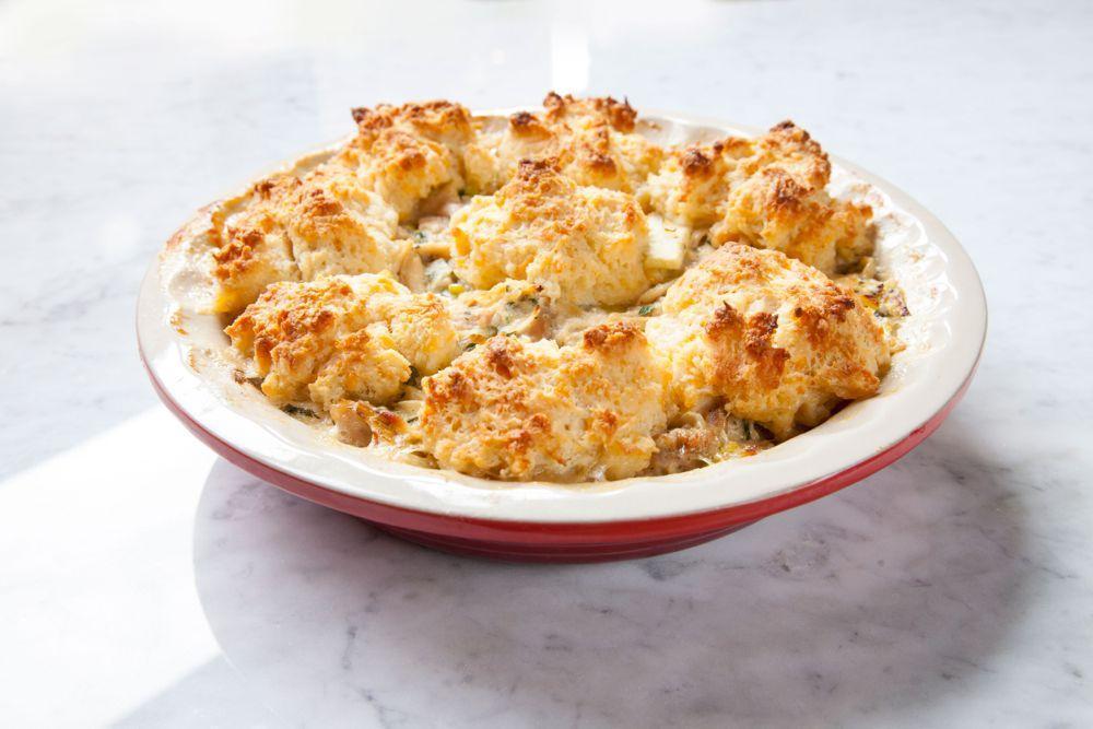 Biscuit crust, chicken pot pie