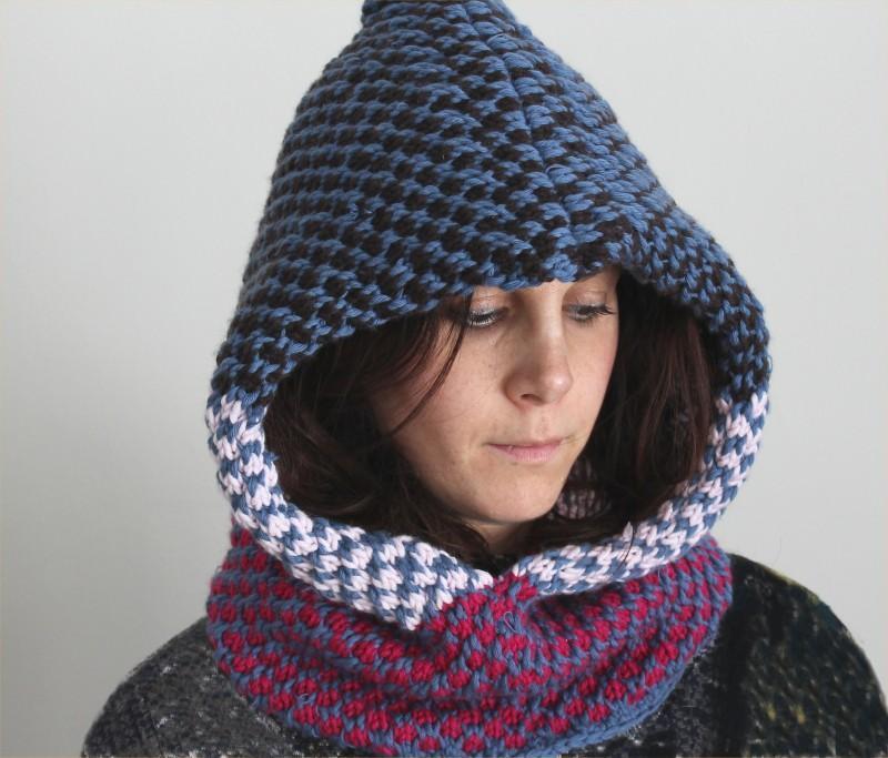 Slip Stitch Hooded Cowl Knitting Pattern